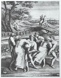 Die Wallfahrt der Fallsüchtigen nach Meulebeeck - Lithography by Hendrik Hondius (after a drawing by Pieter Brueghel)