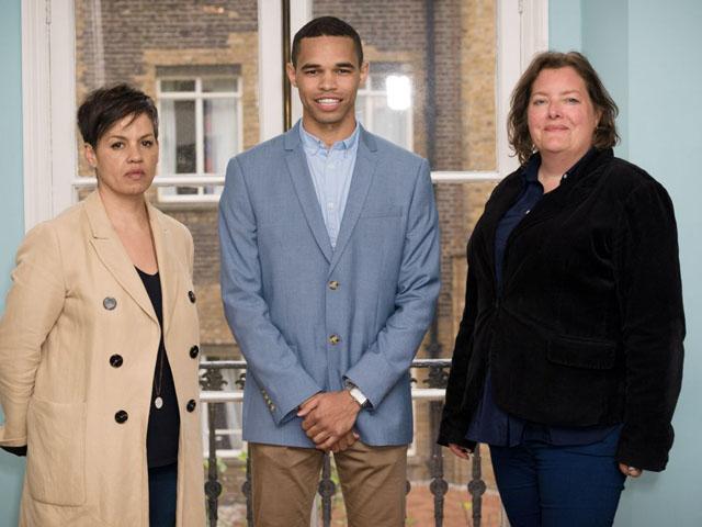 Stephen Morrison-Burke with Kit de Waal and MA Creative Writing director Julia Bell 480